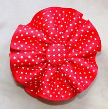 """Red w/ white swiss dots Round Hair Bow on a 3"""" bow clip barrette new"""