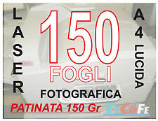 CARTA PATINATA LUCIDA  A4 , STAMPANTI LASER, RIVISTE VOLANTINI 150gr 150 FOGLI