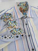 Robert Graham Multi-Color Stripe Pattern Contrast Collar Shirt Size M