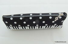 Music themed black and white keyboard piano design zipper pencil case