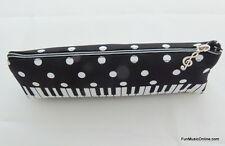 Música temática Piano Teclado negro y blanco diseño de cremallera Estuche