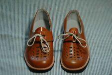 NEW NWOB Vintage Children's Boy's Dress Shoes Size 1.5 Leather Orange Laces