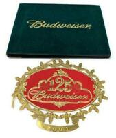 Budweiser Gold Tone / Red Christmas Ornament 125th Anniversary 1876-2001