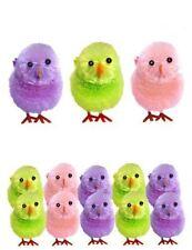 10 Mini Multicolour Chicks Glitter Deco Easter Decorations Mini Egg Nests Grass