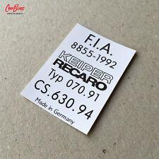 KEIPER RECARO FACTORY SEATS FIA STICKER, 911 (1995 – 1998) porsche repro resto