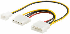 Lüfter Adapter Molex Stecker 4 Pin auf 3 PIN Stecker und 4 PIN Molex Buchse 20cm