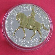 1977 Silver Jubilee corona en capas en plata y acentuado en oro 22ct