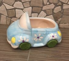 """BLUE BABY CAR PLANTER """"IT'S A BOY"""" / VASE FOR PLANT, FLOWERS, CANDY, ECT"""
