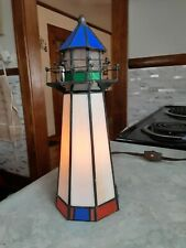 "Tiffany Style Stained Glass Nautical Lighthouse Lamp / Night Lite 9 3/4"" Tall."