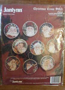 Janlynn Christmas Cross Stitch Kit 'Santa Ornaments', New, Rare Bargain!