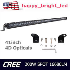 """41"""" 200W Offroad Single Row CREE Chips 4D Opticals LED Light Bar Combo Truck SUV"""