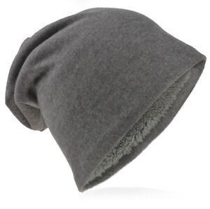 Jersey Slouch Beanie Mütze doppelseitig warm für Winter Damen Herrn Trend GBMU-L