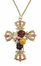 Crystal Rose Skull Cross Crucifix Celtic Gothic Costume Jewellery Necklace