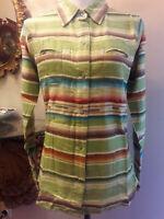 Tasha Polizzi Womens Colt 44 Green Serape Pearl Snap Button Western Shirt NWT