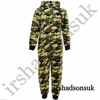 KIDS GIRLS BOYS SOFT & FLUFFY CAMOUFLAGE Onesie ALL IN ONE FANCY DRESS 3-13 Year