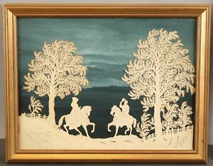 Antique Folk Art Cut Paper Silhouette, Landscape + Horse & Riders NO RESERVE!