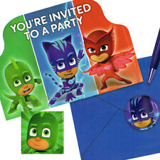 PJ MASKS INVITATIONS (8) ~ Birthday Party Supplies Stationery Cards Notes Disney