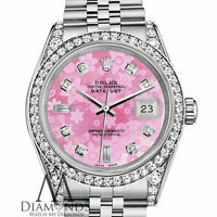 Ladies Rolex Datejust 26mm SS Pink Flower MOP Color Diamond Dial Watch