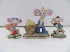 3 LOT Vintage Mice Mouse Figurine farmer cheese wheelbarrow umbrella crying girl