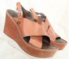 Born D32602 Criss Cross Brown Slingback Platform Wedge Sandals Women's US 9