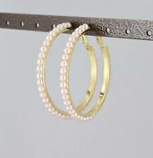 Gold Pink faux pearl hoop earrings hoops lever back post large wide lightweight