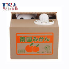 US Itazura Automated Money Stealing Cat Coins Piggy Bank Money Saving Box
