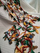 Vintage small Wooden Red Beaded Christmas Tree Garland 6 sets of 2 ft w/ornament
