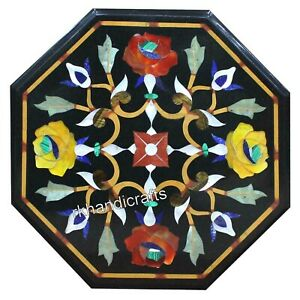 Multi Color Stone Work Inlay Marble Table Top Octagon Coffee Table 13 Inches
