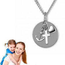 Taufkette,Kinderkette,Gravur Platte mit Glaube Liebe Hoffnung Anhänger,Silber925