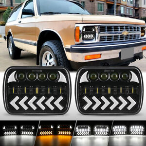 5x7 7x6'' LED Headlights w/ Amber Turn Signal For Chevy S10 Blazer GMC S15 Jimmy