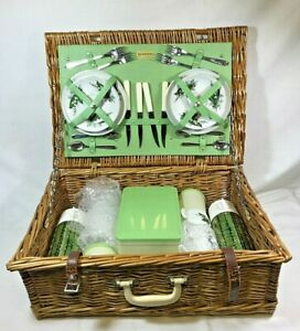 Vintage Mid Century 4 person Brexton Wicker Picnic Hamper 1950s, lily-of-the-val