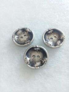 Set of 3 Vintage Silver tone with Black custom 2 hole buttons. Diameter 19mm