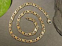 Hübsche 925 Silber Kette Vergoldet Ausgefallene Panzerkette Unisex Damen Herren