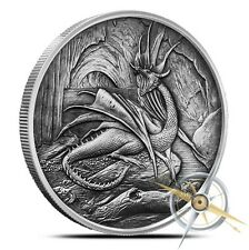 5 OZ Silver Nordic Creatures Dragon Nidhoggr Antique - Rare - Only 500 Minted