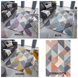 NEW ICON GEOMETRIC HAND CARVED RUG IN BLUE, MAUVE, OCHRE AND TERRACOTTA CARPET