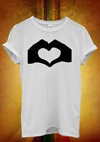 Heart Shaped Hand Fun Funny Hipster Men Women Unisex T Shirt Tank Top Vest 714