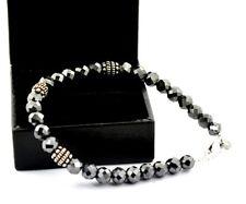 6mm Black Diamond Beads Bracelet- Birthday Gift,Anniversary Gift,Men Jewelry
