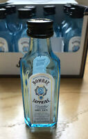 Lot of 12 BOMBAY SAPPHIRE DRY GIN 50 ml Empty Blue Glass Mini Bottles with Caps