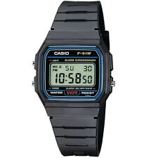 Casio F-91W-1 Black Resin Classic Digital Unisex Watch with Alarm and Stopwatch