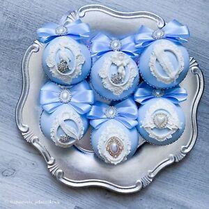 Blue Christmas Ornaments Magic Angel Handmade Decor White Crystal Decoration