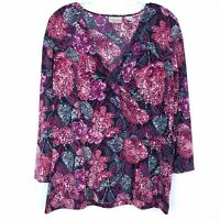 CHICO'S Women's size 3 Top Blouse Faux Wrap Surplice Peplum Abstract 3/4 Sleeves