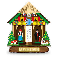 Wood House Barometer Thermometer Wall Mounted Hanging Weather Hygrometer Decor