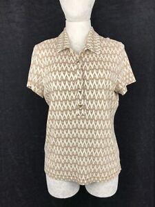 TORY BURCH Women's Beige / Brown Lines Pattern Polo Shirt  Size XL
