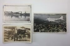 Lot Of 3 Sepia Vintage Photographs Man Float Air Plane Water City Photos F088