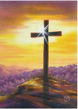 NEW EVERGREETINGS CARD & 12.5 X 18 GARDEN FLAG GIFT SET EASTER CROSS SUNSET