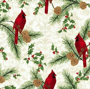 Hoffman Joyful Traditions Holiday Cream Cardinal Quilt Fabric by the HALF Yard