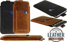 SLIM CON Pull-Up Custodia Sacchetto con tasca di carta di credito in vera pelle manica per i telefoni
