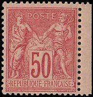 France #101 50 c. Sage Type II. Rose. Margin copy. Mint OG, XF! Bright copy!