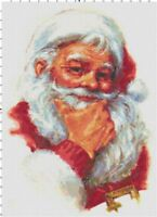 Thoughtful Santa Vintage DIGITAL Counted Cross-Stitch Pattern Needlepoint Chart