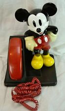 1994 At&T Mickey Mouse Phone Touch Tone Red Handset With Coiled Cable